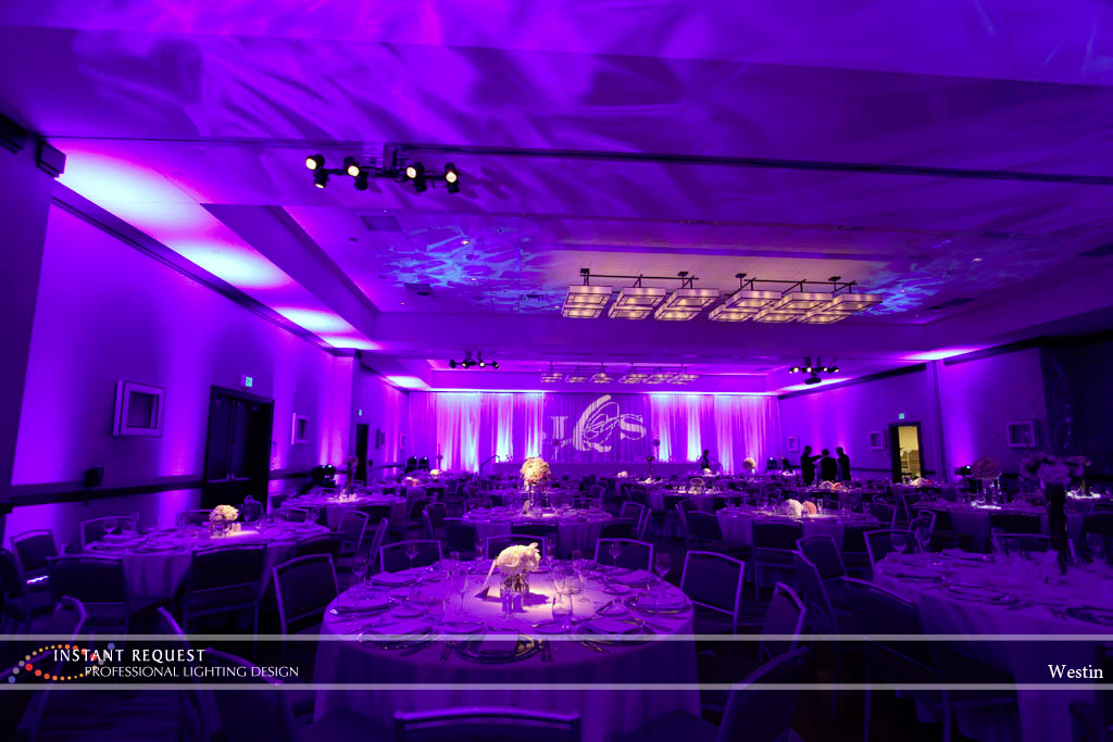 Wedding led uplighting at Westin 5