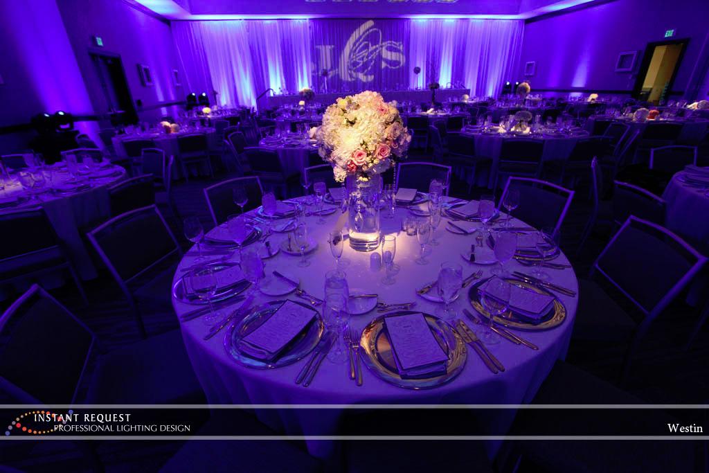 Wedding led uplighting at Westin 6