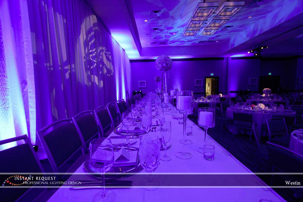 Wedding led uplighting at Westin 7