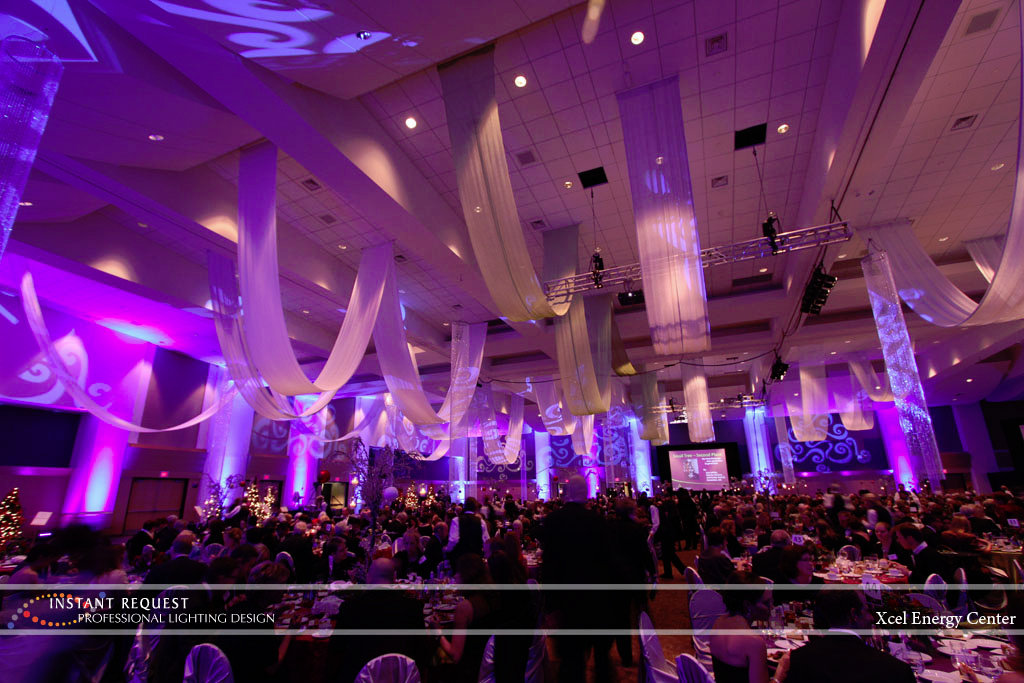 Wedding led uplighting at Xcel Energy Center 7