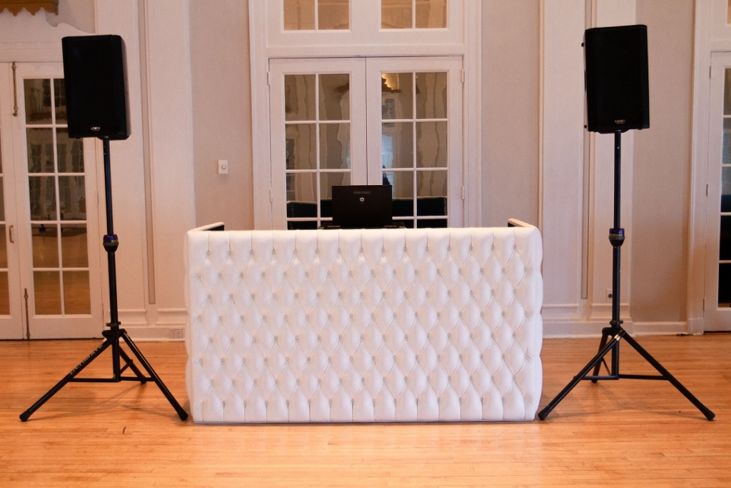 White tufted DJ booth