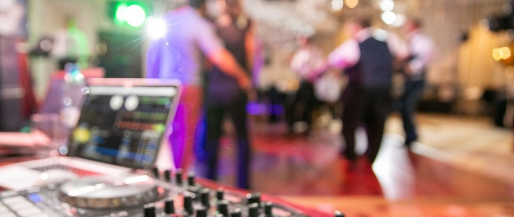 A DJ's mix table at a party.